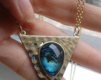 Large Triangle Hammered Gold and Genuine Abalone Shell and Quartz doublet Necklace