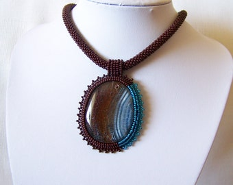 Bead Embroidery Necklace with Agate -  Beadwork necklace - blue and brown necklace - statement necklace - modern necklace