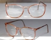 90s Sergio Valente Vintage Keyhole Eyeglasses RX Eyewear Pink Rose Peach Translucent Frames Club Master Clear with Readers Near New
