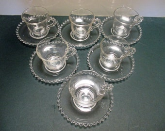 Imperial Glass Candlewick Pattern - Footed Cups and Saucers - Set of 6 Cups and 6 Saucers