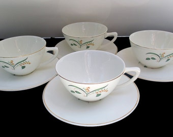 Knowles China Accent Shape - Forsythia Pattern - Freda Diamond Design - Set of 4 Cups and 4 Saucers  (6 Sets Available)