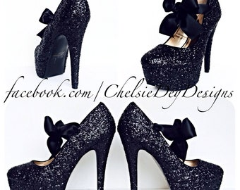 Glitter High Heels - Black Pumps - Sparkly Platform Pumps - Black Satin Bows - After Dark