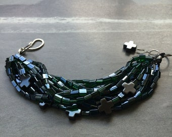 Green Glass, Silver and Hematite Bracelet with Greek Crosses, Multi-Strand