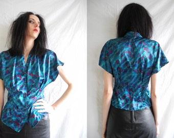 80's rocker short sleeve satin blouse/shirt blue/metallic with a feather print.