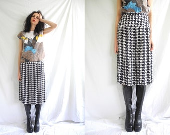 80s black and white pleat houndstooth print drop waist long skirt.