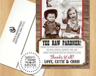 Cowboy - Wild West - Flat Thank You Notes