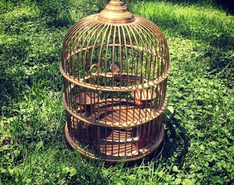 Antique SOLID BRASS Bird Cage
