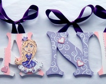Princess On A Cloud Pink & Lavender Painted Wood Wall Letters