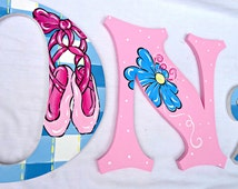 Ballerina Princess Gingham Painted Wood Wall Letters