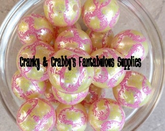 20mm Resin Gumball Damask Beads Neon Yellow and Pink  -  Chunky Necklaces - Set of 10 - Neon Yellow and Pink on white