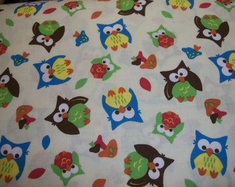 Owls on  light tan cotton fitted crib/toddler sheet