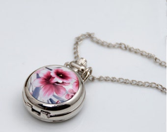 1pcs small  Flower pocket watch charms pendant    25mmx25mm