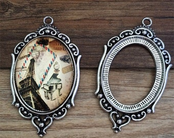 10set  30mmx40mm antique silver  Oval anitque Pendant Trays with clear Glass Cabochons