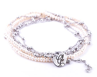 Necklace/Bracelet - sterling silver and white freshwater pearls
