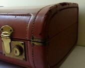 Vintage Leather Briefcase Initials WWR with 2 Keys Decor Storage Steampunk Prop Attache Luggage