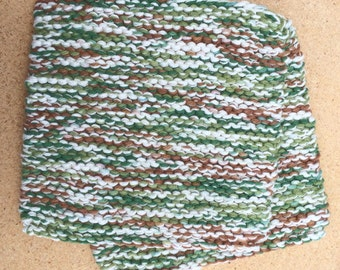 Hand Knit Pot Holders - Set of 2 - Green Brown Cream