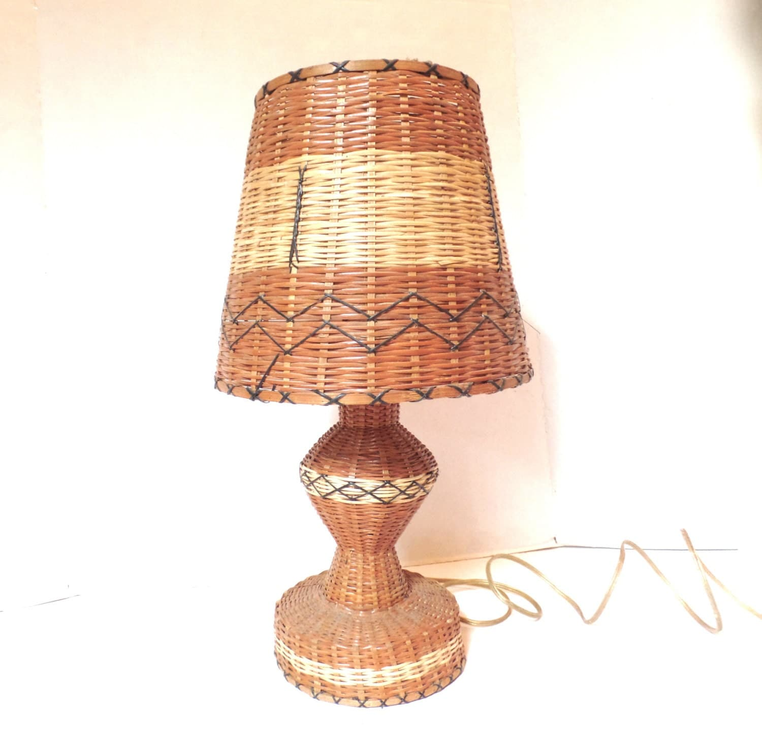 Vintage Wicker Table Lamp 70s Woven Rattan Lamp By