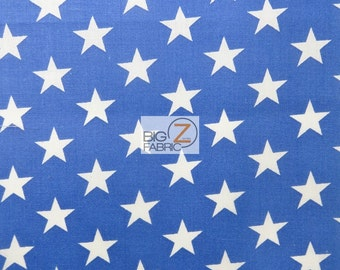 """American Stars Poly Cotton Fabric - BLUE/WHITE - 58""""/59"""" Width Sold By The Yard USA Patriotic (P156)"""