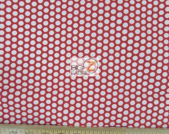 "100% Cotton Fabric - Polka Dot Red/White - 45"" Wide By The Yard (FH-1764)"