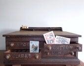 Clarks O.N.T. Four Drawer Oak Spool Cabinet