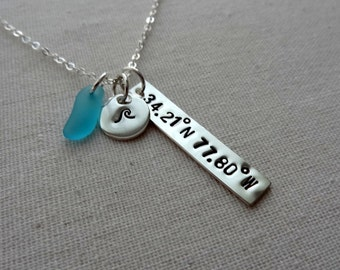 Sterling Silver Hand Stamped Coordinates Necklace - Wave, Anchor, Starfish, Seahorse, Sand Dollar, Turtle, Arrow, North Carolina, or Initial