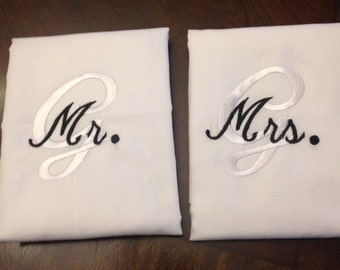 Monogrammed Mr. and Mrs. Pillow Cases, Standard size
