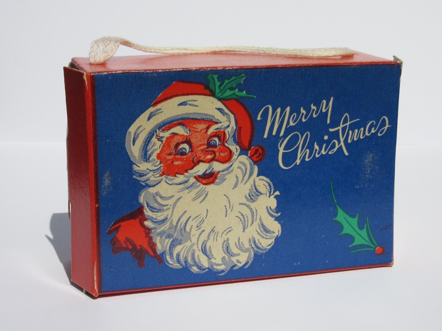 Vintage christmas candy box with santa claus by antiquelove