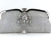 Bridal Clutch - Vintage Bridal Clutch - Silver Rhinestone Evening Bag w/ Swarovski Crystal Accent - Wedding Purse - Silver Party Purse