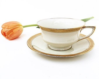 Vintage Tea Cup  Bohemia Royal Ivory Gold ~ Made in Czechoslovakia~ Cup & Saucer
