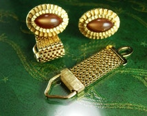 4 pc Gold cuff links Tiger Eye convertible extra mesh back Color moonglow glass Cufflinks Encased Gold layered  Design Vintage Mesh Wrap