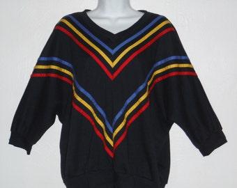 Vintage 80's black retro slouch ladies top