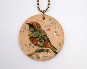 Handmade Stoneware Necklace. Boho Jewelry. Bird Pendant. Bird Necklace. Unique Ceramic Pendant. Handmade Jewelry. Bohemian Jewelry.