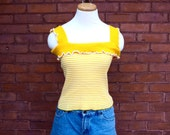 SALE Yellow Striped Frilly 90s Crop Top