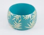 Bracelet Turquoise TROPICAL • feuille • exotique • tropical • manchette • noël • minimaliste • or • chic