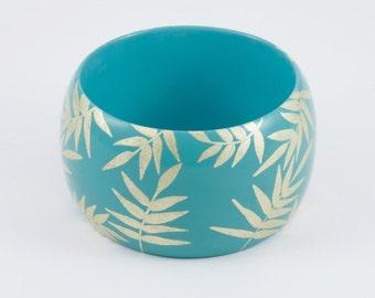 Bracelet Turquoise TROPICAL   - feuille -  exotique - tropical - manchette - bijou pour l'été - minimaliste - or - chic