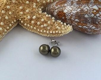Olive Pearl Studs