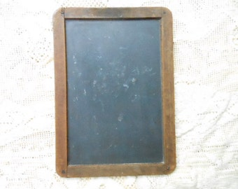 Antique Primitive Slate Chalkboard 2 Sided Student Schoolhouse Wood Framed 10 3/8 by 7 1/2 Inches Great Collectible Decoration Art Item