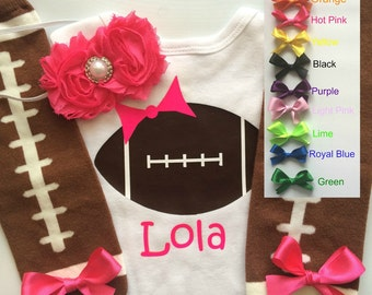 Baby Girl Football Outfit - personalized baby girl outfit - football legwarmers - girly football outfit-you choose color