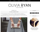 "Blogger Template Premade Blog Design - ""Olivia Ryan"" Instant Digital Download, Black and Simple"