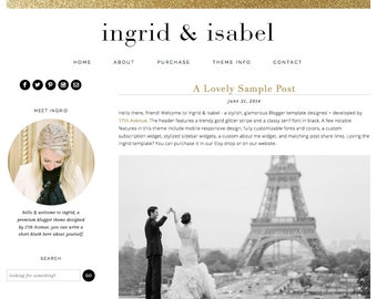 "Blogger Template Premade Blog Theme Design - ""Ingrid & Isabel"" Instant Digital Download, Black, Simple and Chic"