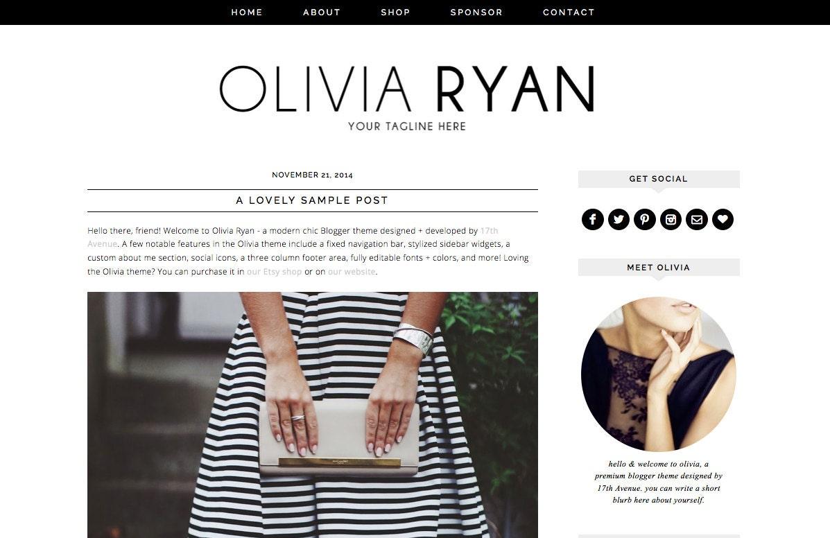 blogger template premade blog design olivia ryan. Black Bedroom Furniture Sets. Home Design Ideas