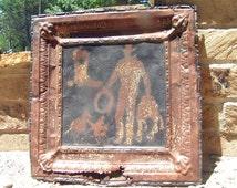Antique Ceiling Tile Wall Tin Cowboy Art Kitchen Backsplash w2 et