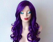 Deep purple wig. Long curly hair long side bangs wig. Durable Heat resistant wig for daytime use or cosplay.