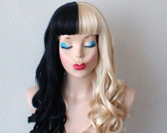 Blonde/Black wig. Half Blonde Half Black wig. Long curly blonde and black hair  wig. Black Blonde side by side wig.