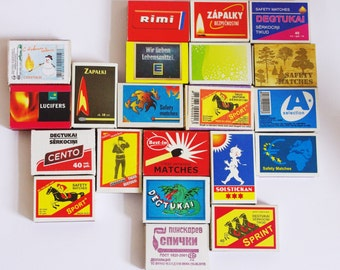 21 matchhboxes, collectibles, produced in different countries