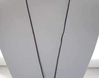 Long Dark Brown Leather Necklace with Hammered Silver Slider Bars