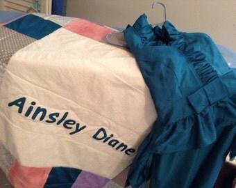 Bridesmaid Dress Baby Quilt- Custom Baby Quilt- Baby Quilt with Name- Baby Quilt made from a Bridesmaid Dress- Baby Clothes Quilt-