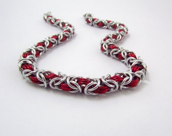 Discreet Collar in Red and Silver - Handmade Slave Day Collar - Byzantine Chainmaille Animal Kitten Pup Furry Play