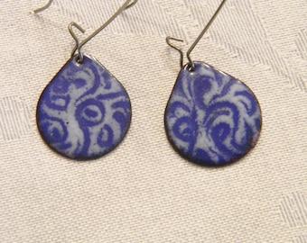 Blue and white sgraffito enameled earrings