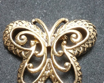 Butterfly Gold Tone Brooch / Pin